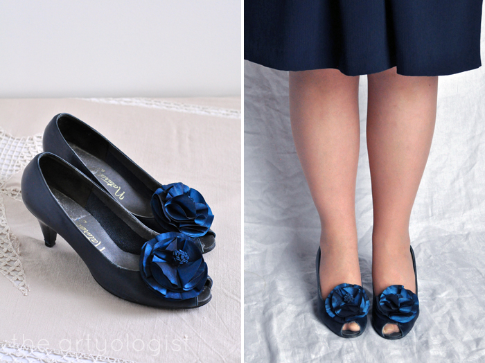 Bringing Back Coupon Busters One Pair of Shoe Clips at a Time, Navy pumps- princess pompoms, the artyologist