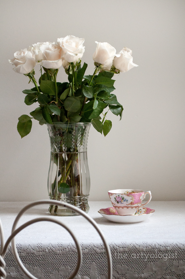 Tea and Cream Coloured Roses, roses and tea at desk, the artyologist
