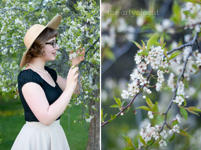 The Circle Skirt Strikes Again, (With the Hell Bunny Melissa Top) the artyologist, holding-blossoms-2