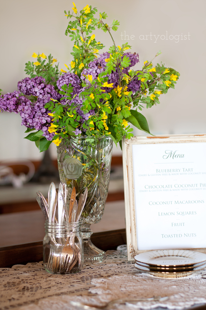 The Ladies Garden Tea (Which is not in a Garden): The Decor, lilac bouquet and menu