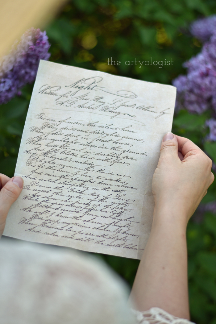 Lilacs and Love letters, the artyologist, poem-over-shoulder