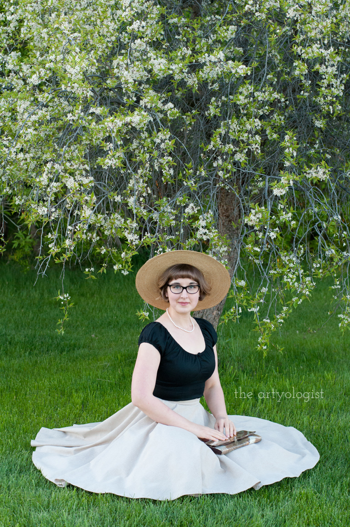 The Circle Skirt Strikes Again (With the Hell Bunny Melissa Top), the artyologist, sitting under the plum tree
