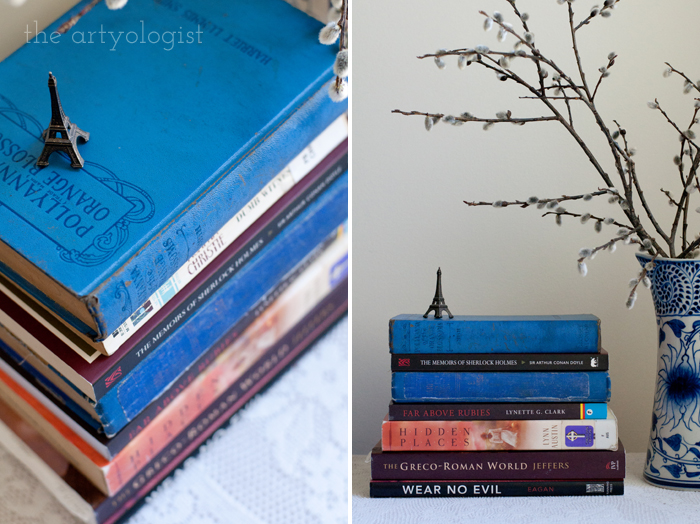 Taking Part in a Book Lover's Tag, the artyologist, stack-and-front-view