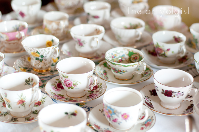 The Ladies Garden Tea (Which is not in a Garden): The Decor, teacup-collection