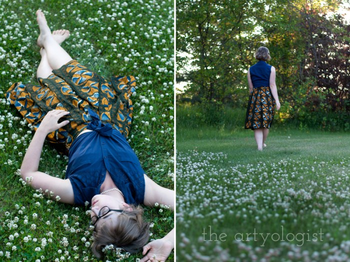 Amongst the Clover, the artyologist, dutch wax skirt and blouse in the clover