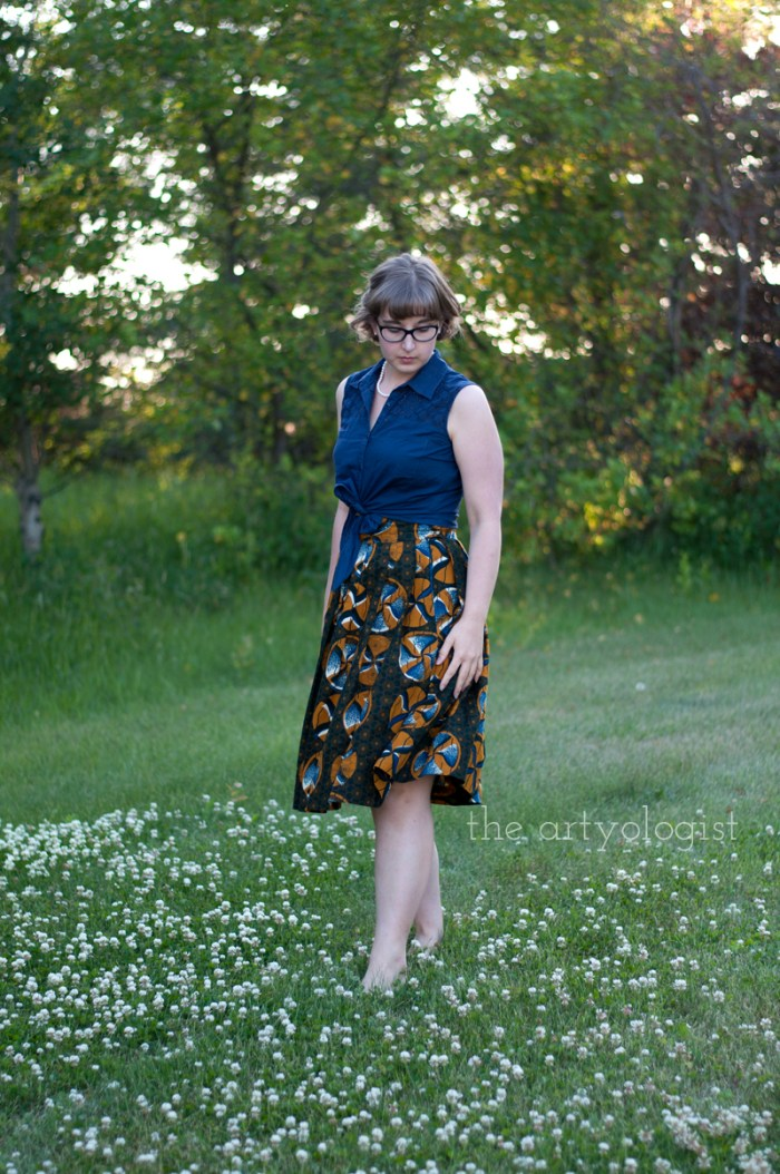 Amongst the Clover, the artyologist, dutch wax skirt and tie blouse