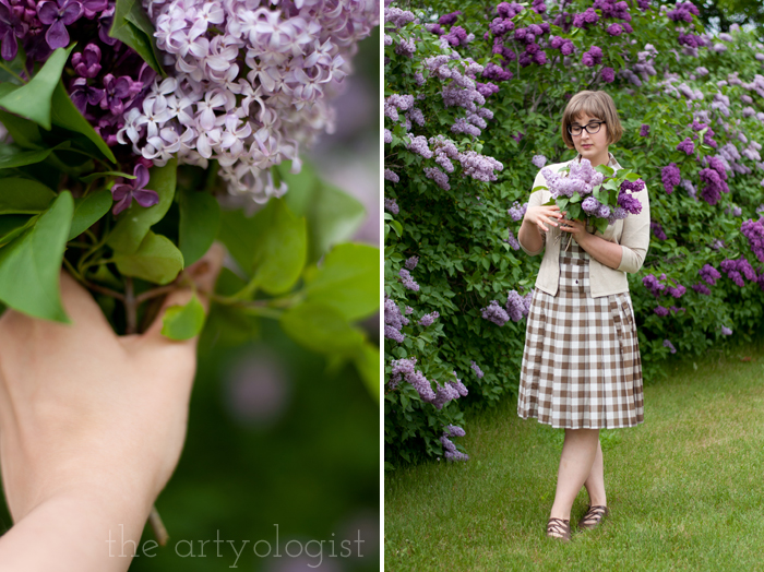 Lilacs, A Gingham Dress and The Second Post That Almost Wasn't, holding bouquet