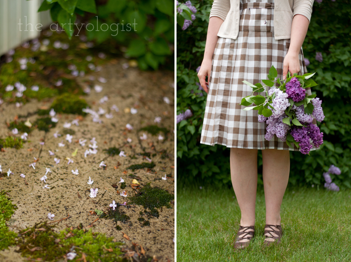 Lilacs, A Gingham Dress and The Second Post That Almost Wasn't, holding lilac bouquet, the artyologist