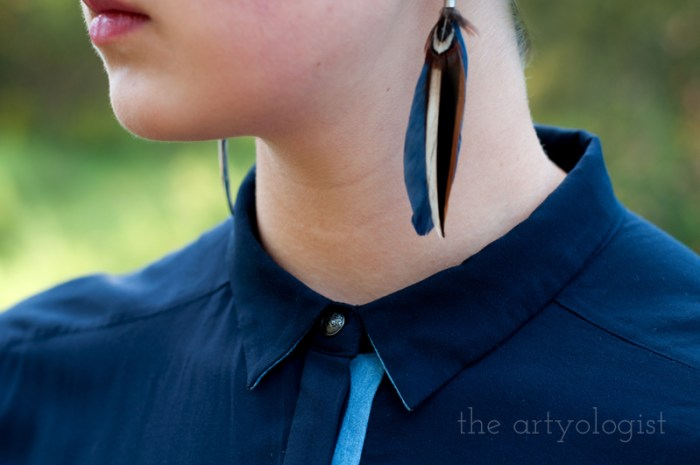 Modern Girl Goes Vintage, the artyologist, feather earrings and collar detail