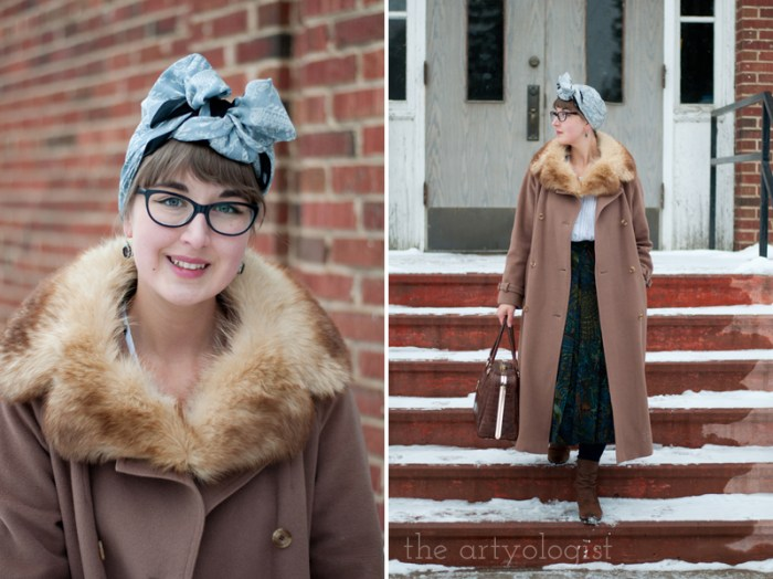 The Obvious Guide for How to Stay Warm in Winter Without Sacrificing Style, vintage coat and fur collar, the artyologist