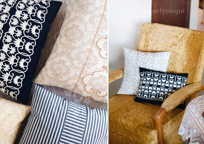 12 Ways to Recycle & Refashion Used Clothing & Textiles, the artyologist, pillows out of scraps