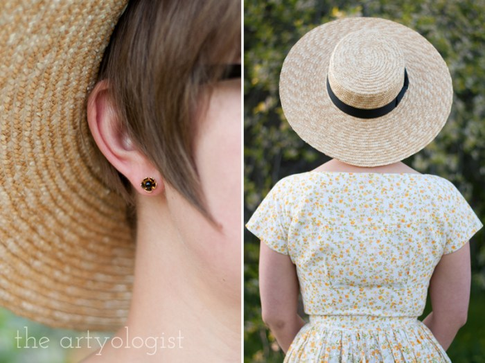 andrea shelley earrings-and-straw boater