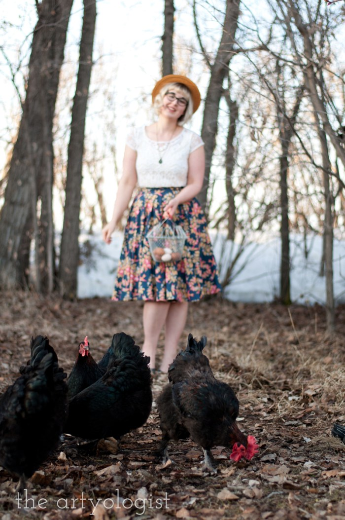 new circle wrap skirt and flock of chickens