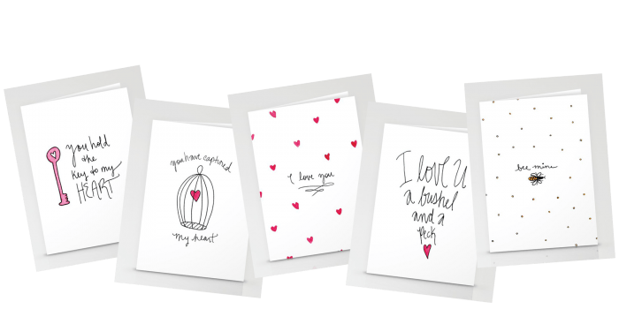 five new valentine card designs in the society 6 shop