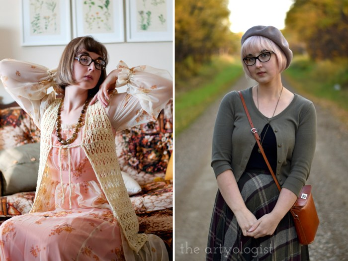 one 1970's outfit and one bookish styled outfit