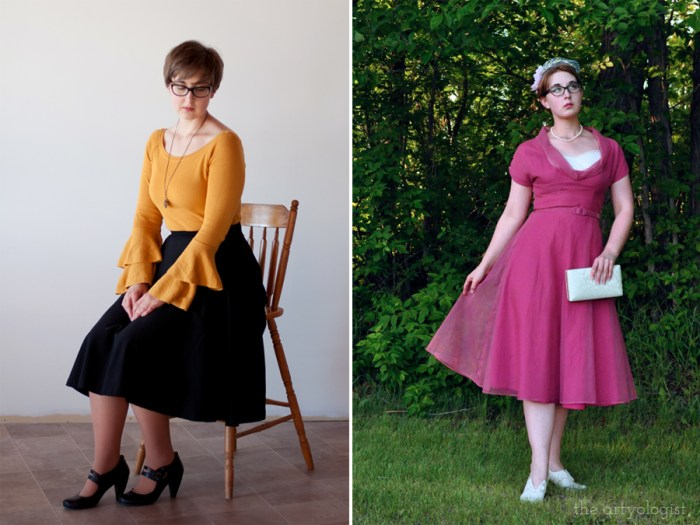 vintage styled outfits with a vintage dress and a sweater and skirt