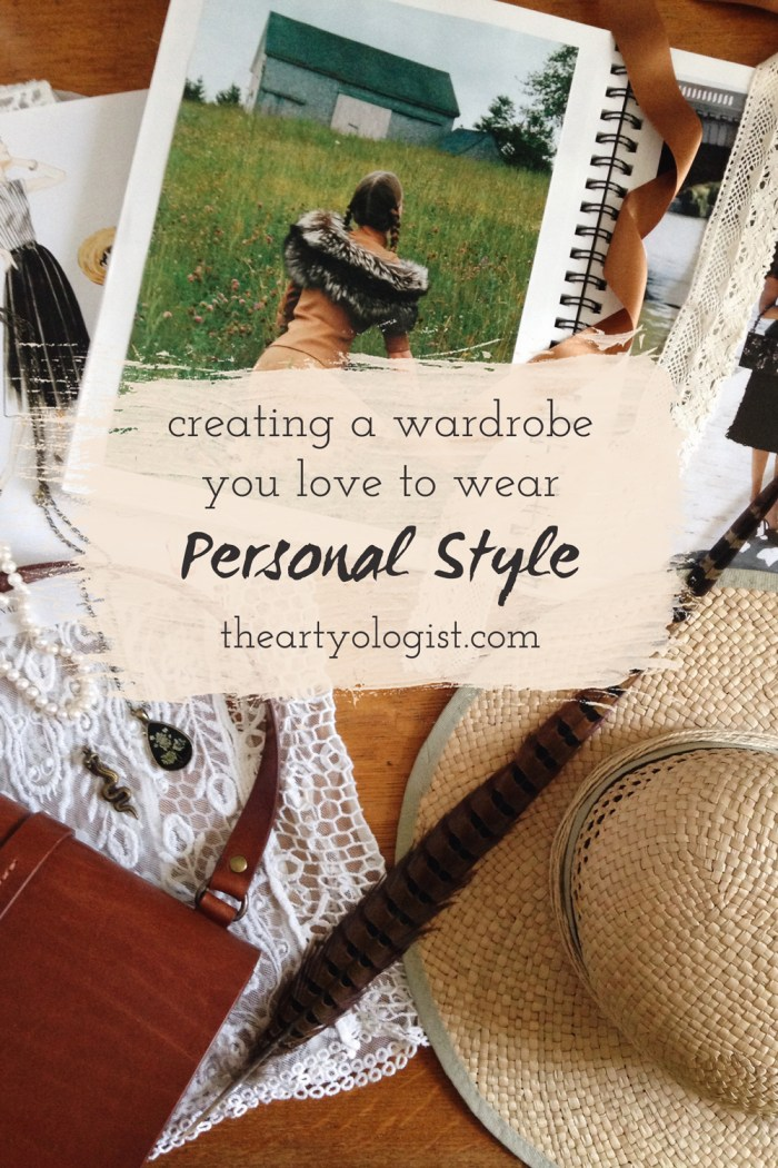 a flatlay of various vintage styled accessories and fashion images related to personal style
