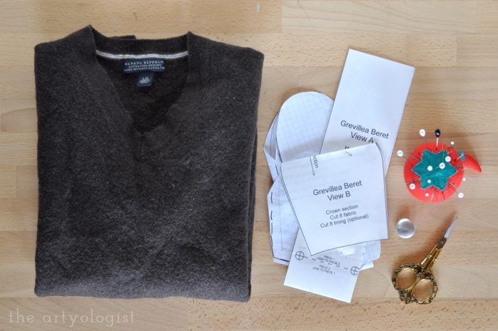 wool sweater and sewing supplies