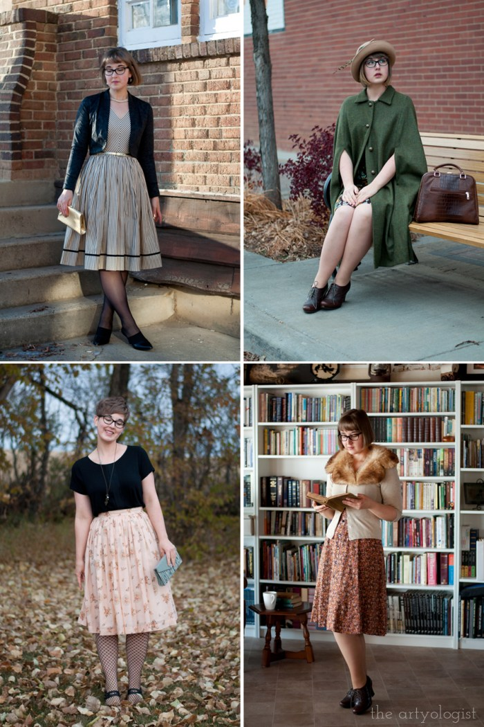 wearing four of my favourite outfits: a vintage christmas look, a fall outfit with a cape, a simple outfit of a skirt and t-shirt and a winter look with a vintage dress and fur collar.