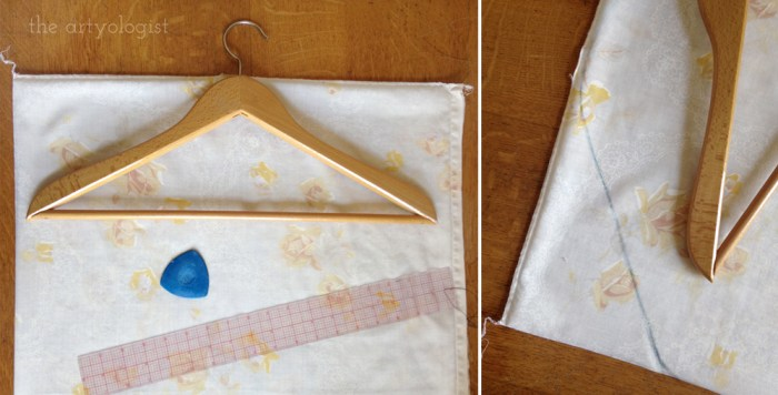 tracing a hanger to make a garment bag