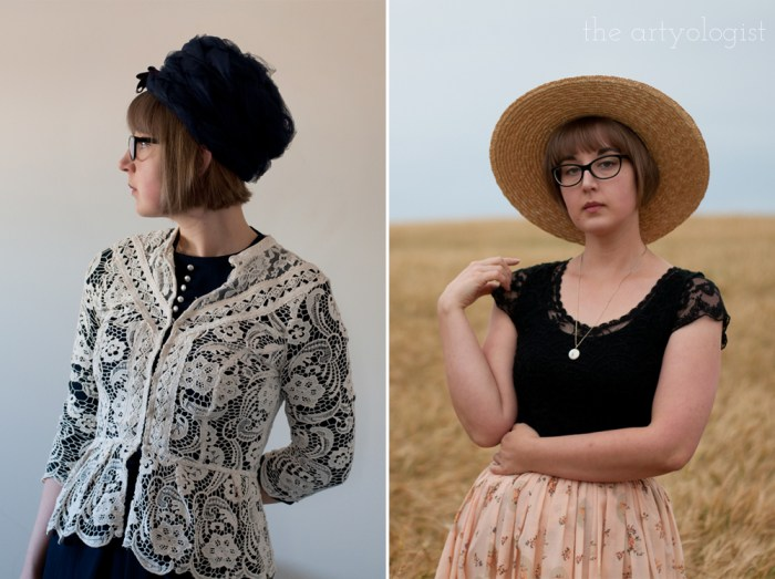 a woman wearing a vintage 1960's style pillbox hat and a woman wearing a straw boater hat