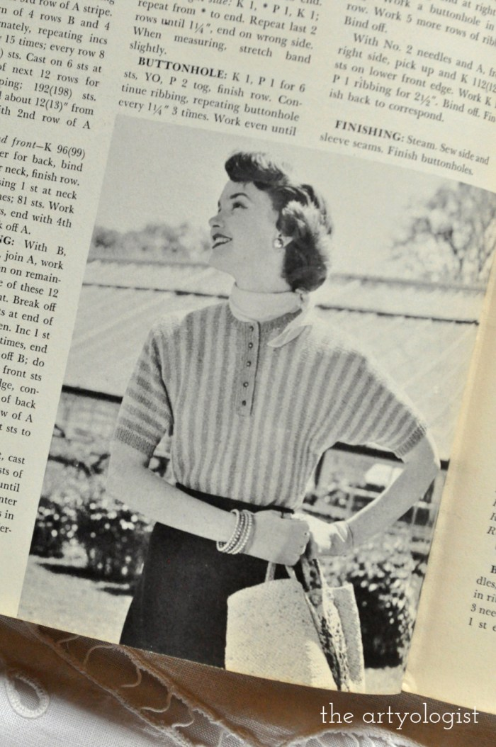 lady wearing a casual striped vintage sweater