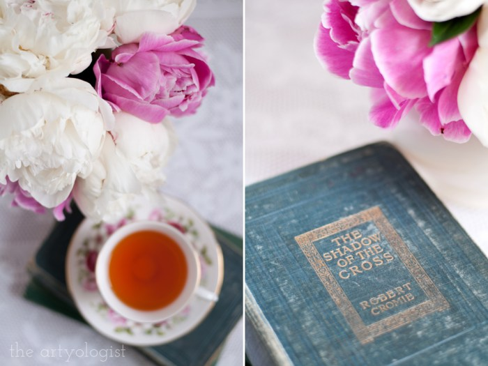 a cup of tea and a bouquet of peonies, an antique book cover