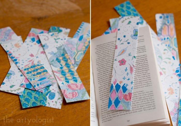 a pile of art bookmarks