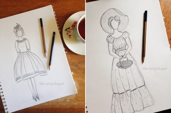 sketch of ladies in dresses and hats