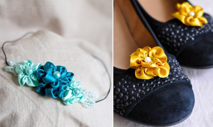 flower headband and shoeclips