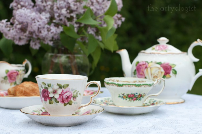 teacups on the top of a table in the garden