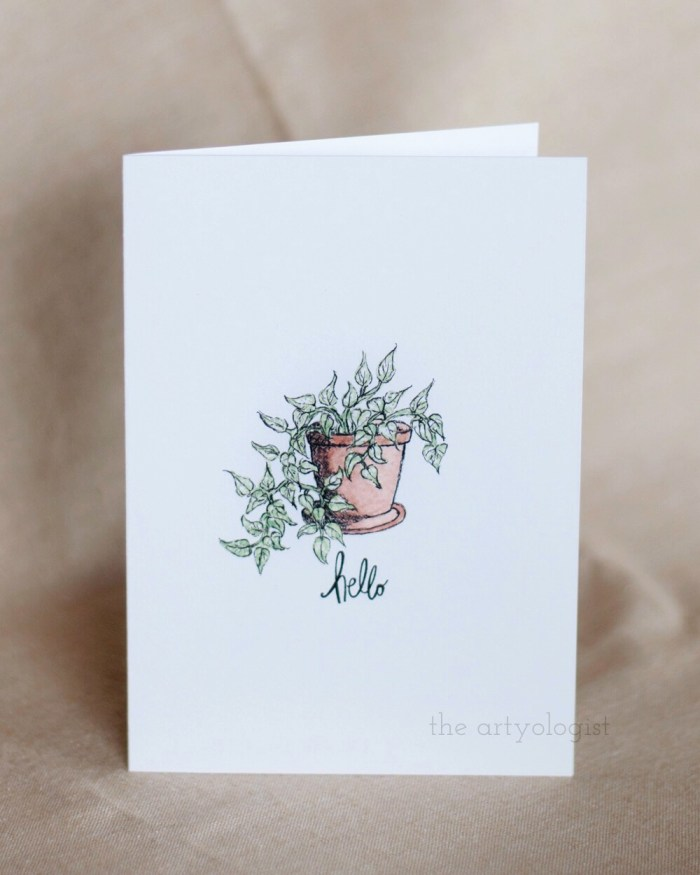 card with pothos on front