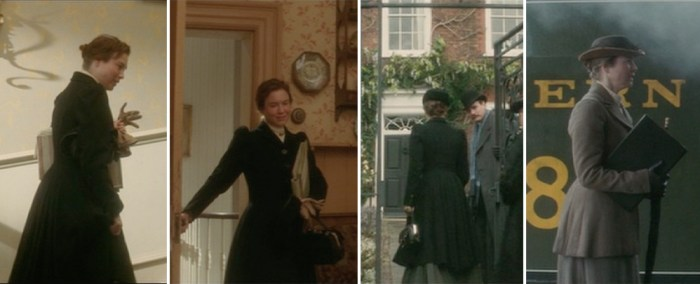 miss potter in london wearing a fitted wool jacket with a peplum