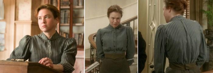 miss potter wearing a striped shirtwaist blouse