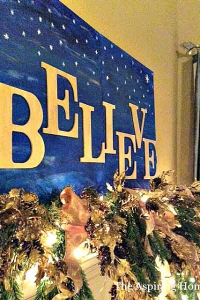 """Easy DIY """"Believe"""" Christmas Painting"""