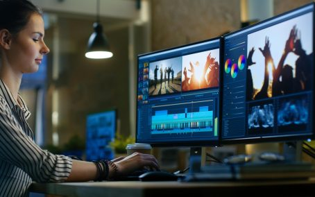 office worker using video editing software