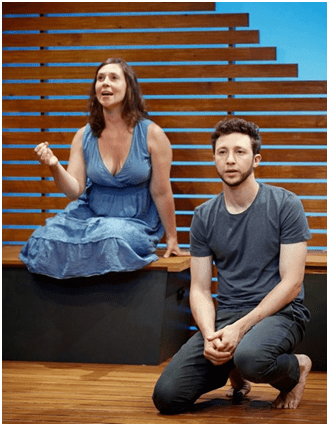 "Miriam Silverman and Adam Green in a scene from Eric Lane's ""Riverbed"" (Photo credit: Carol Rosegg)"