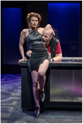 Anna Stromberg and Mark Roberts in a scene from Enter at Forest Lawn (Photo credit: Russ Rowland)