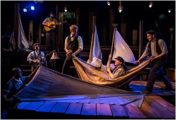 Arya Shahi, Alex Falberg, Dan Weschler, Matt Nuernberger, Ryan Melia and Curtis Gillen in a scene from PigPen Theatre Co.'s The Old Man and The Old Moon (Photo credit: Liz Lauren)