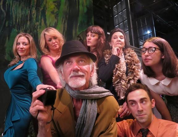 "Dennis Parlato and Kevin Sebastian (foreground); Donna Vivino, Colleen Sexton, Laine Rettmer, Ellen Barber,  Carlotta Brentan  ""Six Passionate Women"" (Photo credit: Jonathan Slaff)"