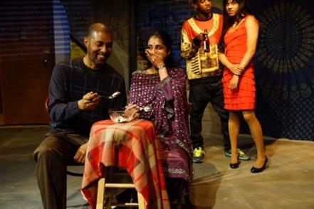 "Dion Graham, Mahira Kakkar, Maurice Williams and Dbargo Sanyal in a scene from ""When January Feels Like Summer""<em> </em>(Photo credit: Gerry Goodstein)"