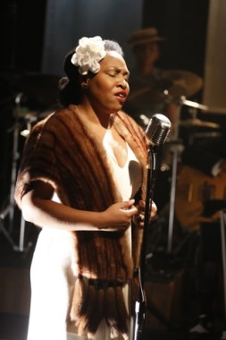 "Charenee Wade as Billie Holiday in a scene from ""Cafe Society Swing"" (Photo credit: Carol Rosegg)"