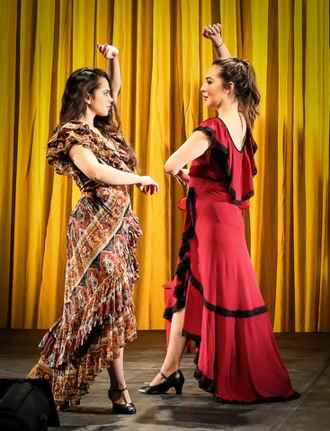"""Gizel Jimenez and Heather Velazquez In a scene from """"Rosario and the Gypsies"""" (Photo credit: Jonathan Slaff)"""