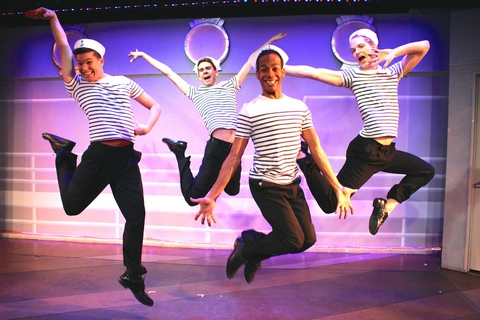 """Joel Libed, Joel Chambers, Kyle DuPree and Dan Coombs in a scene from the musical """"Fabulous!"""" (Photo credit: Steven Bidwell)"""