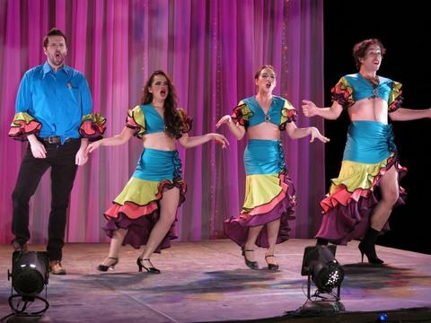 "John J. Concado, Gizel Jimenez, Heather Velazquez and Michael Domitrovich in a scene of ""Rosario and the Gypsies"" (Photo credit: Jonathan Slaff)"