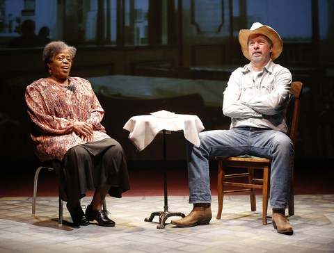 "Lillias White and Scott Wakefield in a Paris Café scene from ""Texas in Paris"" (Photo credit: Carol Rosegg)"