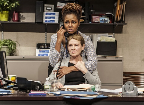 "Tonya Pinkins (above) and Dianne Wiest (below) in a scene from The New Group's production of ""Rasheeda Speaking"" (Photo credit: Monique Carboni)"