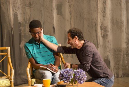 "Mamoudou Athie and Tony Shalhoub in a scene from Bathsheba Doran's ""The Mystery of Love & Sex"" (Photo credit: T. Charles Erickson)"