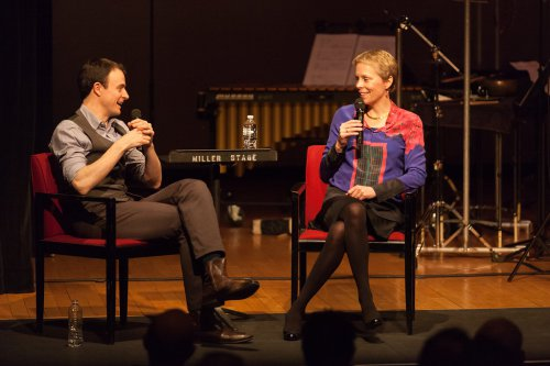 Composer Augusta Read Thomas as she was interviewed by percussionist David Skidmore at Miller Theater on March 5, 2015) (Photo credit: Karli Cadel)