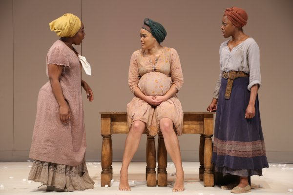 """Maechi Aharanwa, Danielle Davenport and Pascale Armand in a scene from """"An Octoroon"""" at Theatre for a New Audience (Photo credit:Gerry Goodstein)"""